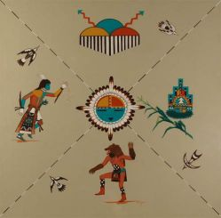 Untitled Hopi-Tewa Painting of the Four Seasons by Raymond Naha (1933-1975); Hopi-Tewa artist Raymond Naha was born in the village of Polacca in 1933. Naha had the fortune of studying under master Hopi artist Fred Kabotie for a year while in high school. Later, he took art correspondence courses so that he could study on his own. He also was a student at the Phoenix Indian School. For the most part, Naha painted with casein, but, occasionally, he was known to work in oils, pastels, ink, and especially acrylics beginning in the 1960s. His painting was usually flat and he used color to create depth in his works in the traditional Hopi way. Naha favored depicting Hopi and Zuñi kachinas and ceremonies, but he did do works with varying themes as well. He is known particularly for his accurate portrayal of kiva life and representations of Native ceremonial regalia in terms of style, detail and color. In this piece, which highlights each of the four seasons, one can see the enormous amount of detail Naha included in his paintings. Condition: The painting is in original excellent condition. It has never been framed and is currently shrink-wrapped for protection. Provenance: From the collection of the family of Balcomb's Ranch Gallery, Colorado.